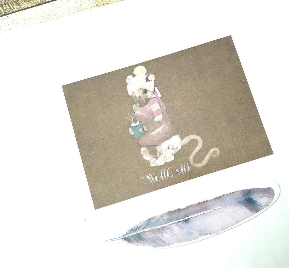 Wolllolli Postkarte Guten Morgen Maus Wolllolli