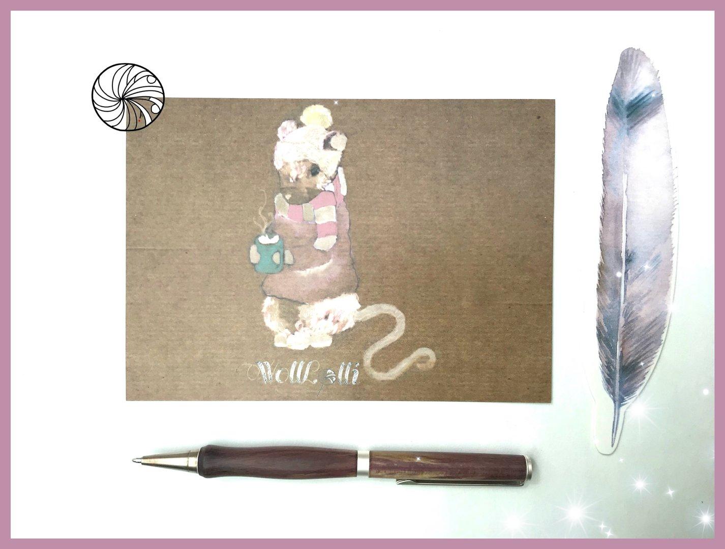 Wolllolli Postkarte Guten Morgen Maus