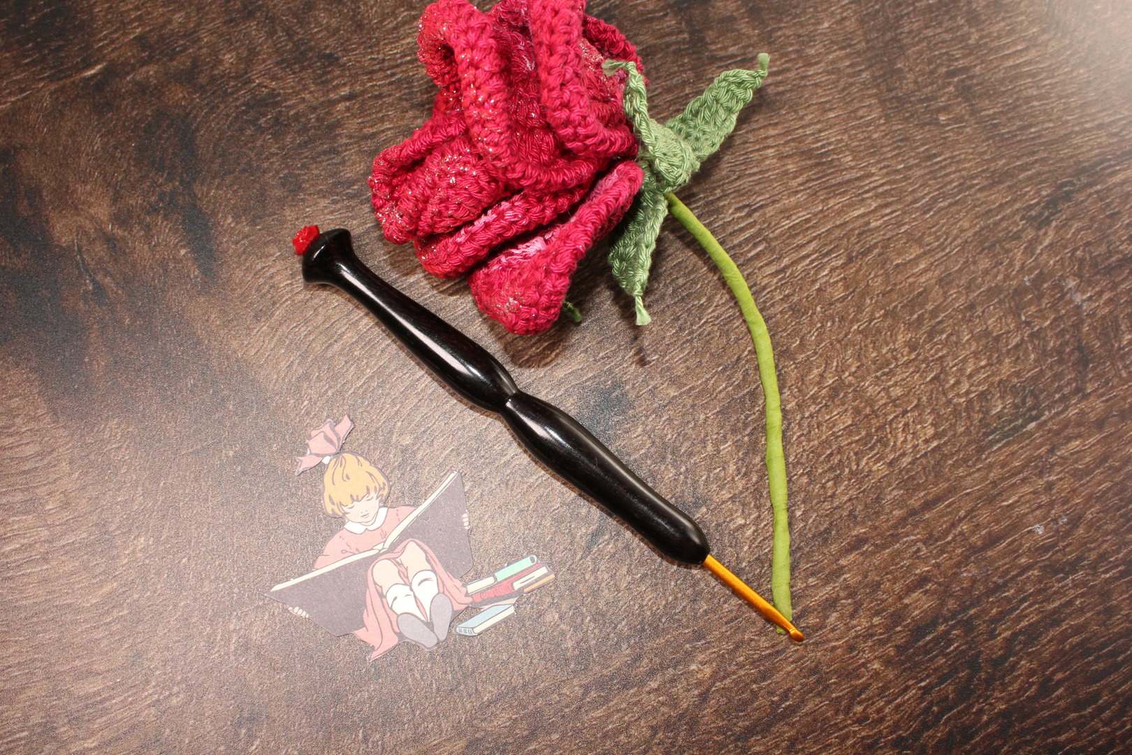 "WollLolli SeaGull DeLuxe ""Red Rose"" aus African Blackwood, NS 3,5 Clover"